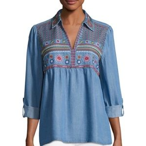 Philosophy embroidered denim tunic top
